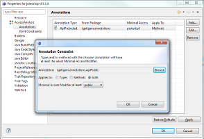Screenshot of Annotation Constraints preferences